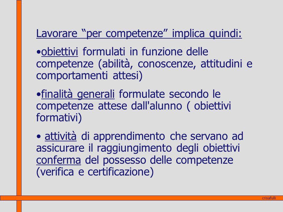 Lavorare per competenze implica quindi: obiettivi formulati in funzione delle competenze (abilità, conoscenze, attitudini e comportamenti attesi) fina