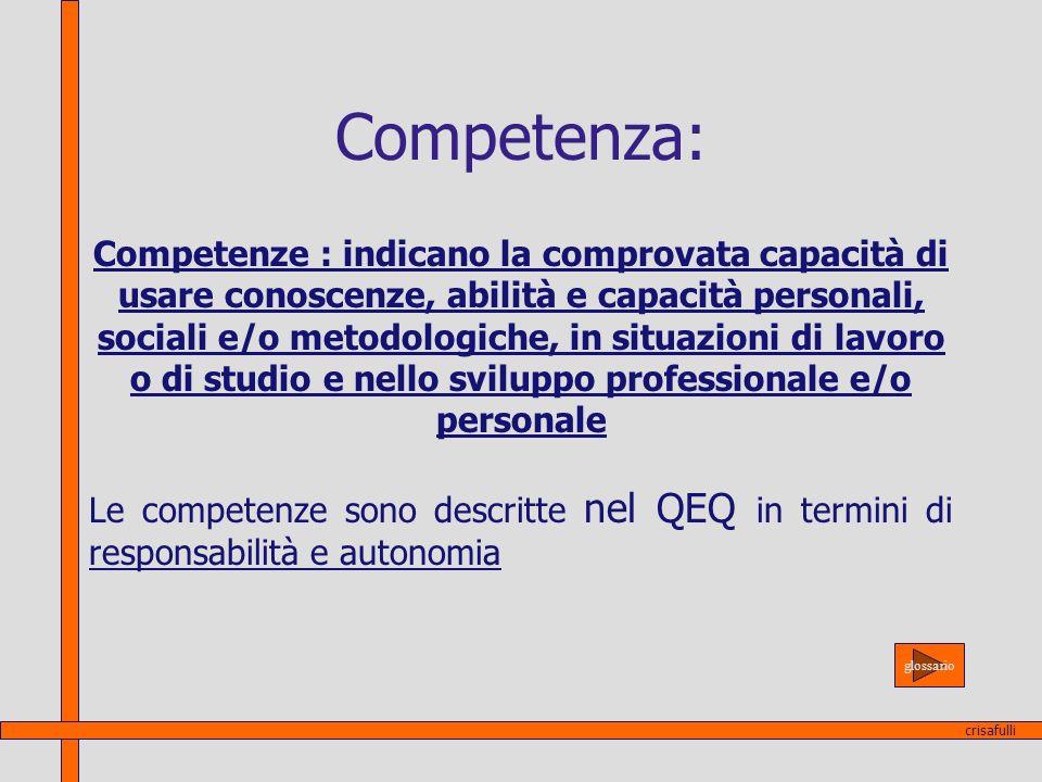 Competenza: Competenze : indicano la comprovata capacità di usare conoscenze, abilità e capacità personali, sociali e/o metodologiche, in situazioni d