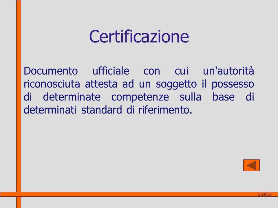 Certificazione Documento ufficiale con cui un'autorità riconosciuta attesta ad un soggetto il possesso di determinate competenze sulla base di determi