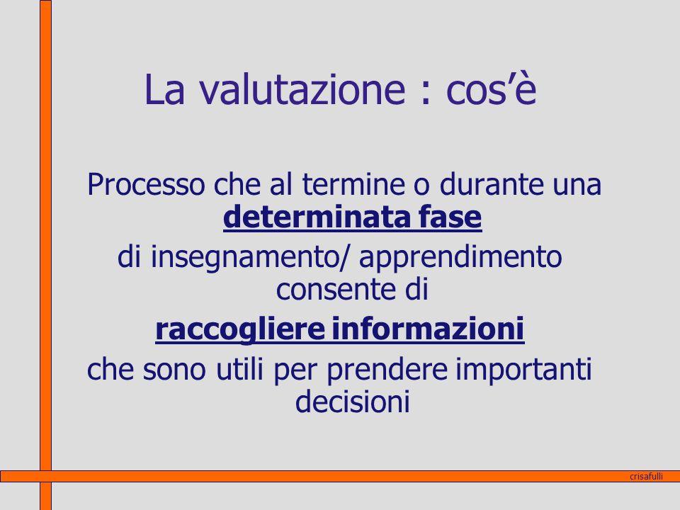 La valutazione : cosè Processo che al termine o durante una determinata fase di insegnamento/ apprendimento consente di raccogliere informazioni che s
