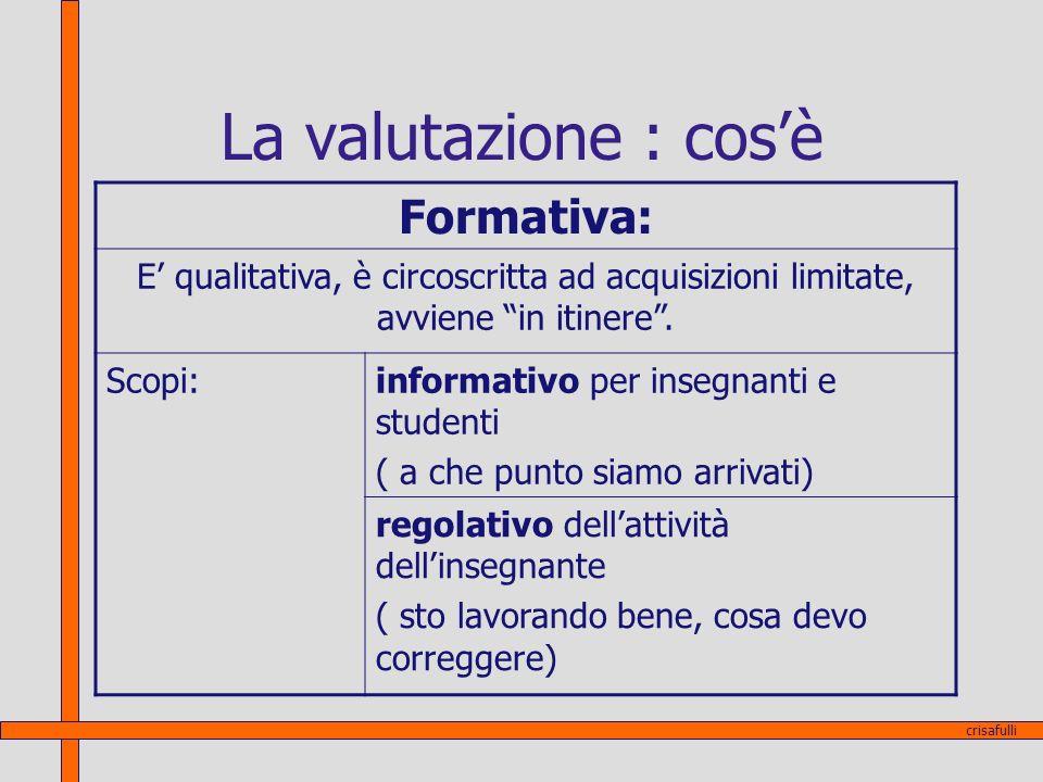La valutazione : cosè Formativa: E qualitativa, è circoscritta ad acquisizioni limitate, avviene in itinere. Scopi:informativo per insegnanti e studen