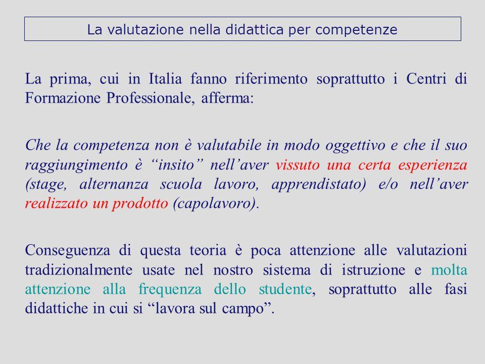 La prima, cui in Italia fanno riferimento soprattutto i Centri di Formazione Professionale, afferma: Che la competenza non è valutabile in modo oggett