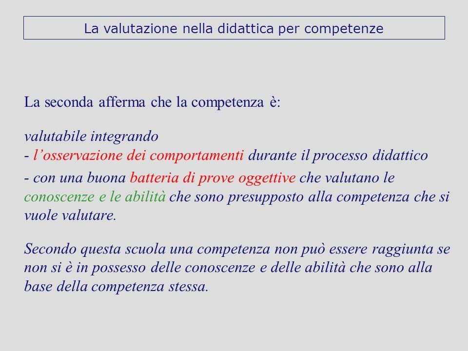 La seconda afferma che la competenza è: valutabile integrando - losservazione dei comportamenti durante il processo didattico - con una buona batteria