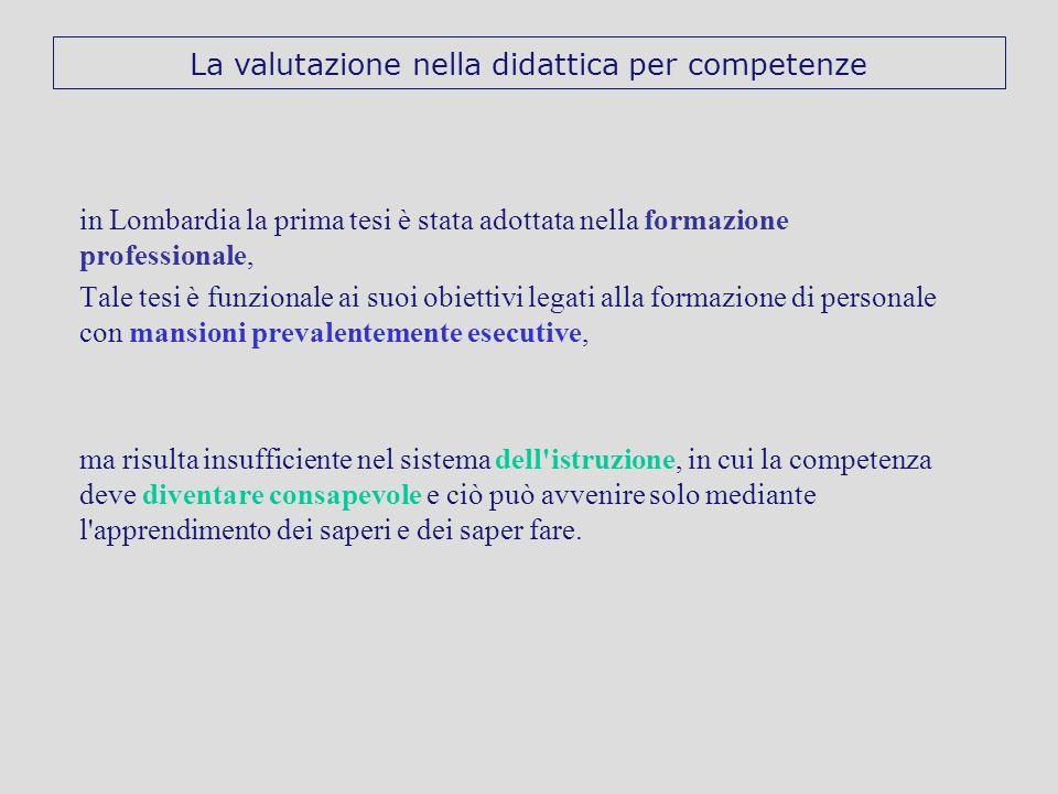in Lombardia la prima tesi è stata adottata nella formazione professionale, Tale tesi è funzionale ai suoi obiettivi legati alla formazione di persona