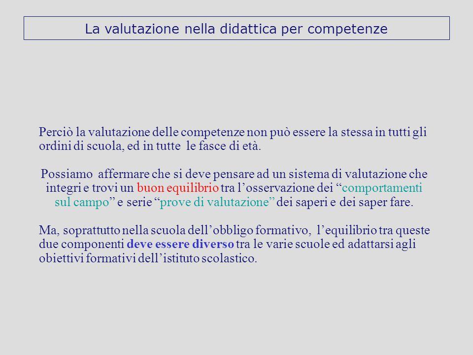 Perciò la valutazione delle competenze non può essere la stessa in tutti gli ordini di scuola, ed in tutte le fasce di età. Possiamo affermare che si