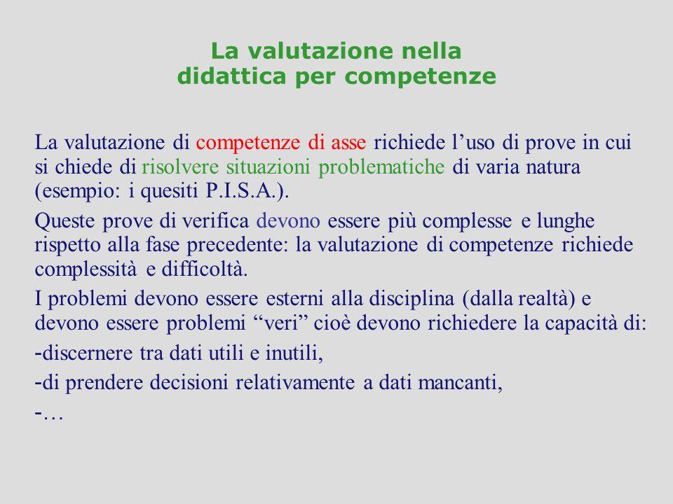 La valutazione nella didattica per competenze La valutazione di competenze di asse richiede luso di prove in cui si chiede di risolvere situazioni pro