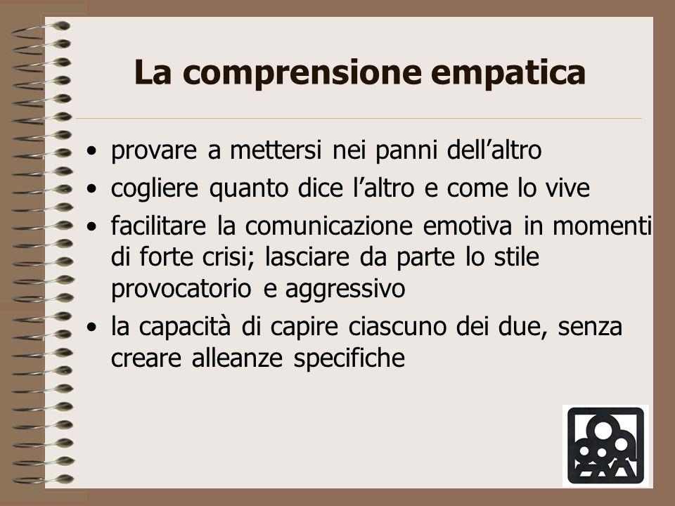 La comprensione empatica provare a mettersi nei panni dellaltro cogliere quanto dice laltro e come lo vive facilitare la comunicazione emotiva in mome