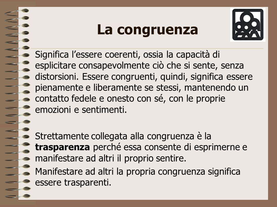 La congruenza Significa lessere coerenti, ossia la capacità di esplicitare consapevolmente ciò che si sente, senza distorsioni. Essere congruenti, qui