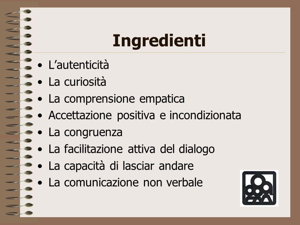 Ingredienti Lautenticità La curiosità La comprensione empatica Accettazione positiva e incondizionata La congruenza La facilitazione attiva del dialog