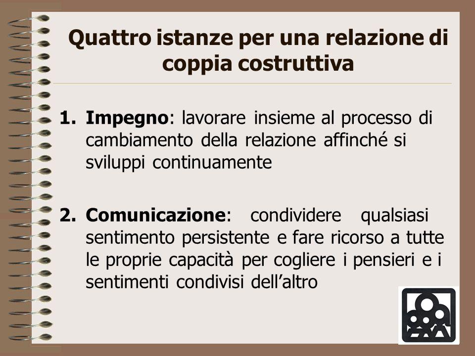 Quattro istanze per una relazione di coppia costruttiva 1.Impegno: lavorare insieme al processo di cambiamento della relazione affinché si sviluppi co