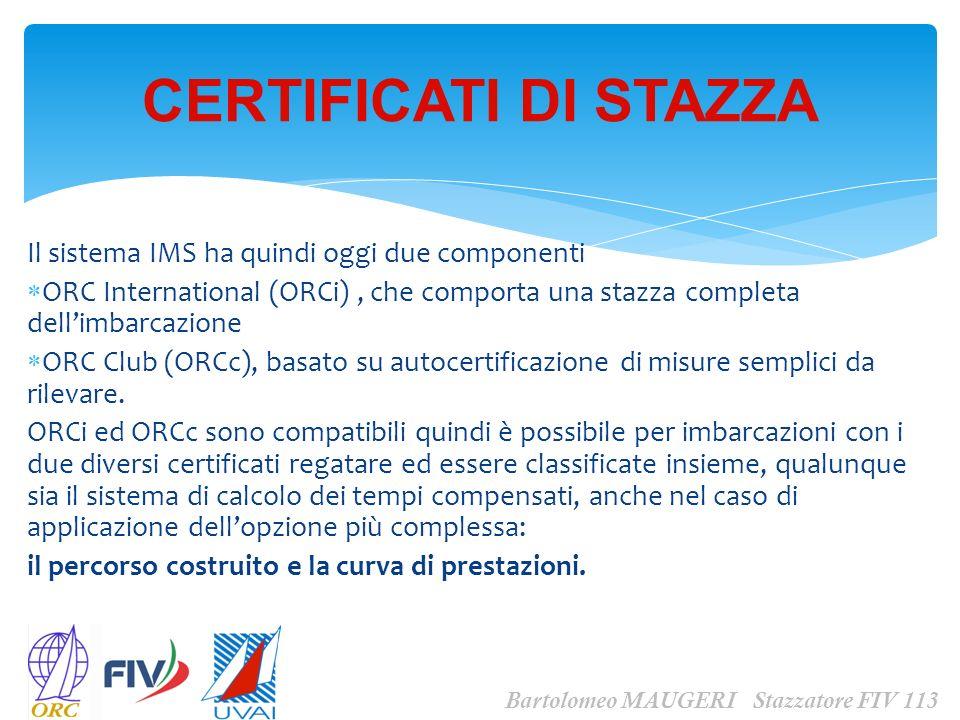Il sistema IMS ha quindi oggi due componenti ORC International (ORCi), che comporta una stazza completa dellimbarcazione ORC Club (ORCc), basato su au