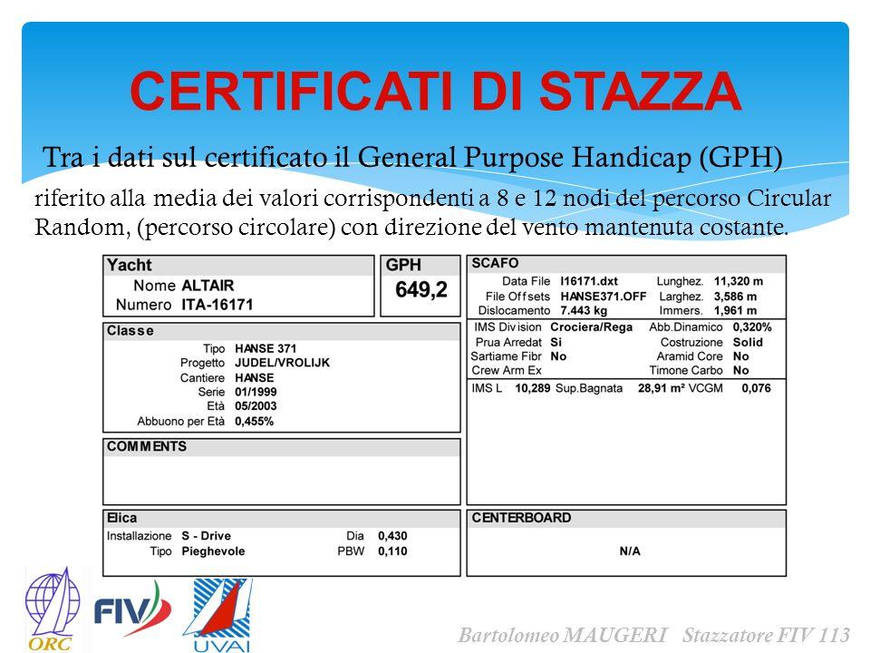 CERTIFICATI DI STAZZA Bartolomeo MAUGERI Stazzatore FIV 113 Tra i dati sul certificato il General Purpose Handicap (GPH) riferito alla media dei valor