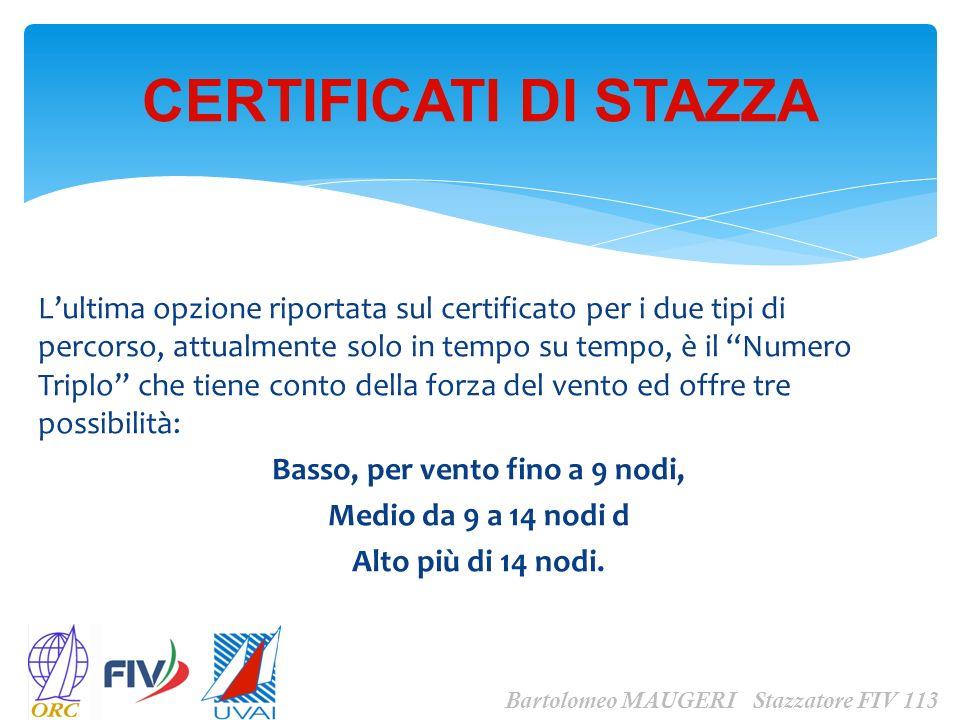 Lultima opzione riportata sul certificato per i due tipi di percorso, attualmente solo in tempo su tempo, è il Numero Triplo che tiene conto della for