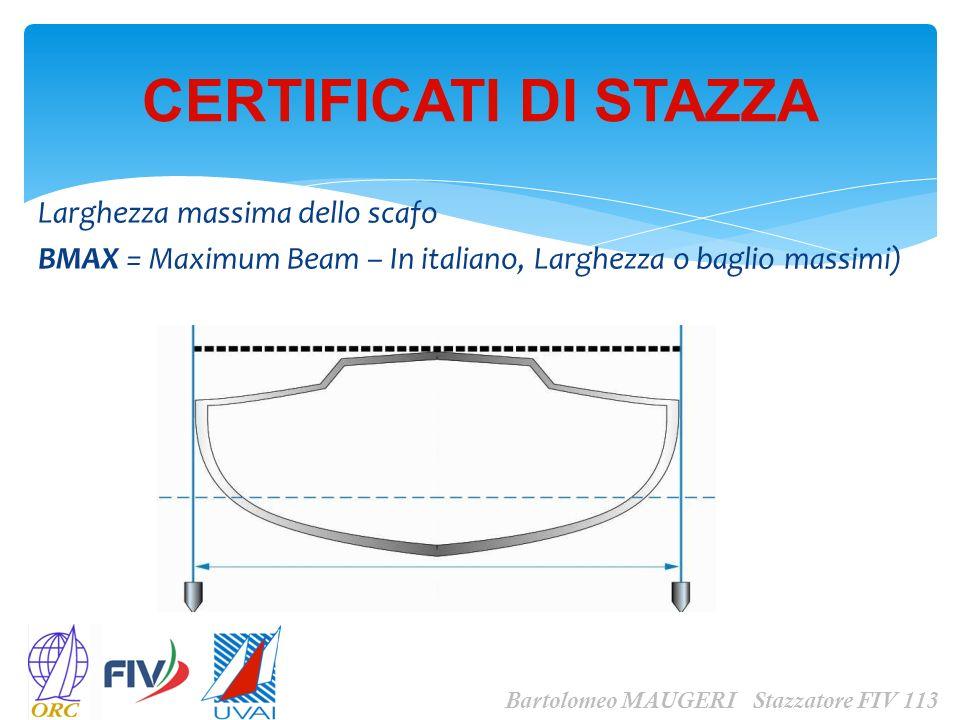 Larghezza massima dello scafo BMAX = Maximum Beam – In italiano, Larghezza o baglio massimi) CERTIFICATI DI STAZZA Bartolomeo MAUGERI Stazzatore FIV 1
