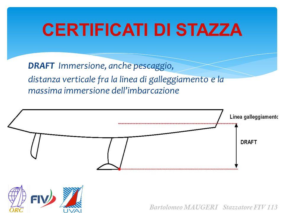 DRAFT Immersione, anche pescaggio, distanza verticale fra la linea di galleggiamento e la massima immersione dellimbarcazione CERTIFICATI DI STAZZA Ba