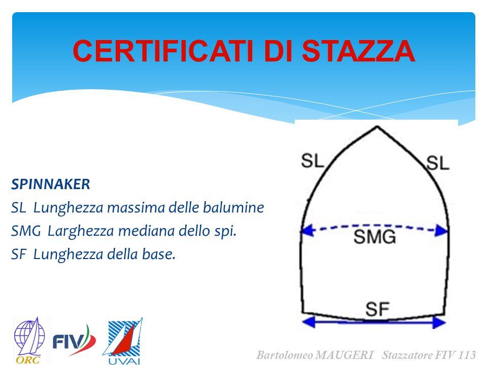 CERTIFICATI DI STAZZA Bartolomeo MAUGERI Stazzatore FIV 113 SPINNAKER SL Lunghezza massima delle balumine SMG Larghezza mediana dello spi. SF Lunghezz