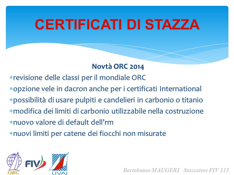 Novtà ORC 2014 revisione delle classi per il mondiale ORC opzione vele in dacron anche per i certificati International possibilità di usare pulpiti e