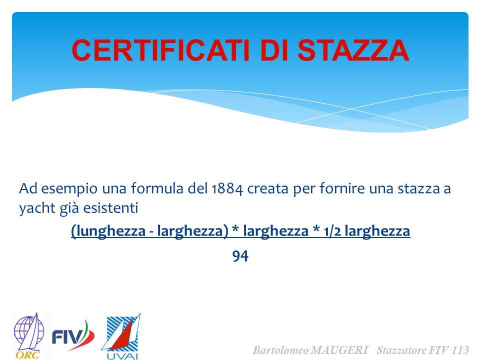 CERTIFICATI DI STAZZA Bartolomeo MAUGERI Stazzatore FIV 113 diede come risultato imbarcazioni sempre più strette - dette tavole in costa le cui proporzioni si dimostrarono a volte pericolose.