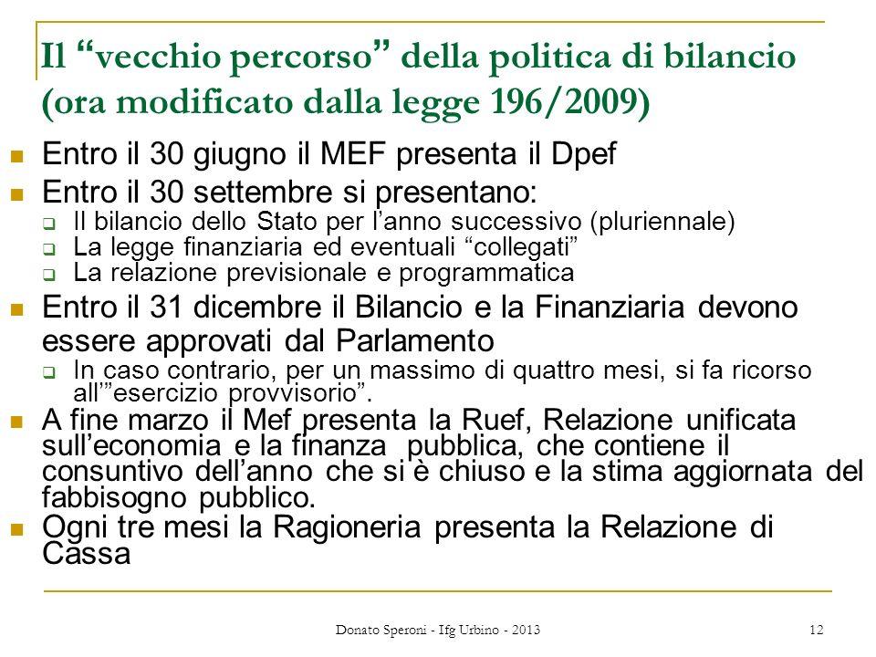 Donato Speroni - Ifg Urbino - 2013 12 Il vecchio percorso della politica di bilancio (ora modificato dalla legge 196/2009) Entro il 30 giugno il MEF p