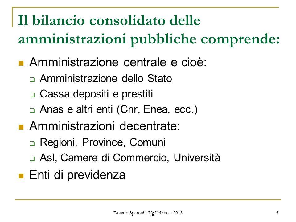 5 Il bilancio consolidato delle amministrazioni pubbliche comprende: Amministrazione centrale e cioè: Amministrazione dello Stato Cassa depositi e pre