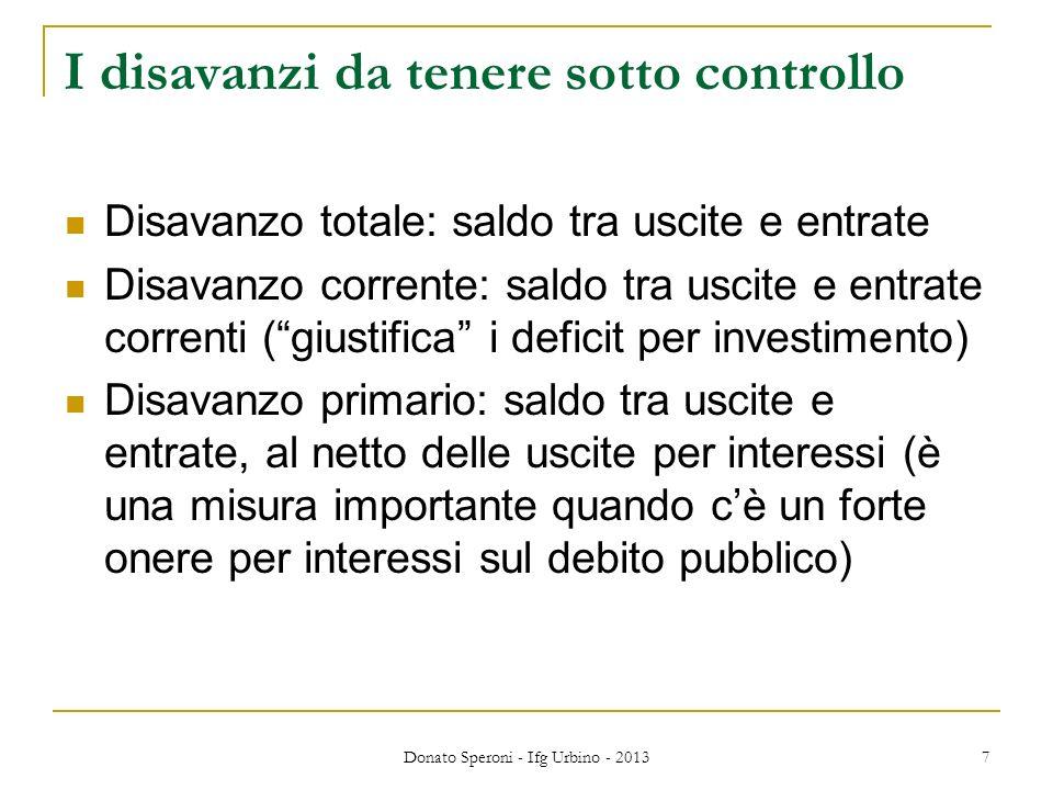 Donato Speroni - Ifg Urbino - 2013 7 I disavanzi da tenere sotto controllo Disavanzo totale: saldo tra uscite e entrate Disavanzo corrente: saldo tra