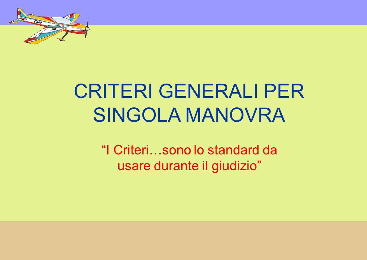 CRITERI GENERALI PER SINGOLA MANOVRA I Criteri…sono lo standard da usare durante il giudizio