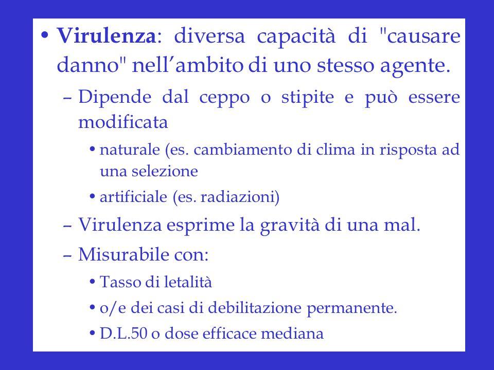 Virulenza : diversa capacità di causare danno nellambito di uno stesso agente.