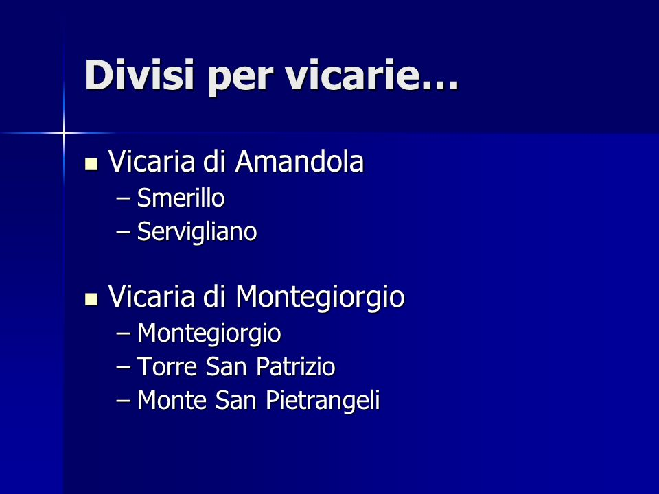 Divisi per vicarie… Vicaria di Amandola Vicaria di Amandola –Smerillo –Servigliano Vicaria di Montegiorgio Vicaria di Montegiorgio –Montegiorgio –Torr