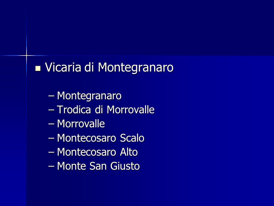 Vicaria di Montegranaro Vicaria di Montegranaro –Montegranaro –Trodica di Morrovalle –Morrovalle –Montecosaro Scalo –Montecosaro Alto –Monte San Giust