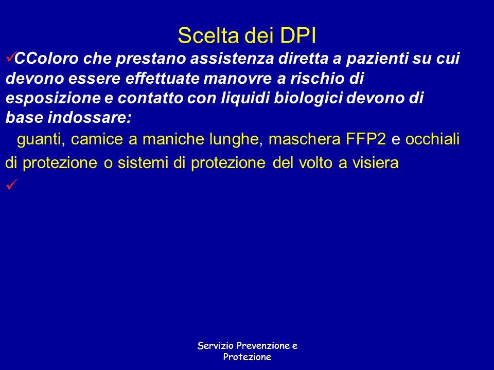 Servizio Prevenzione e Protezione CColoro che prestano assistenza diretta a pazienti su cui devono essere effettuate manovre a rischio di esposizione