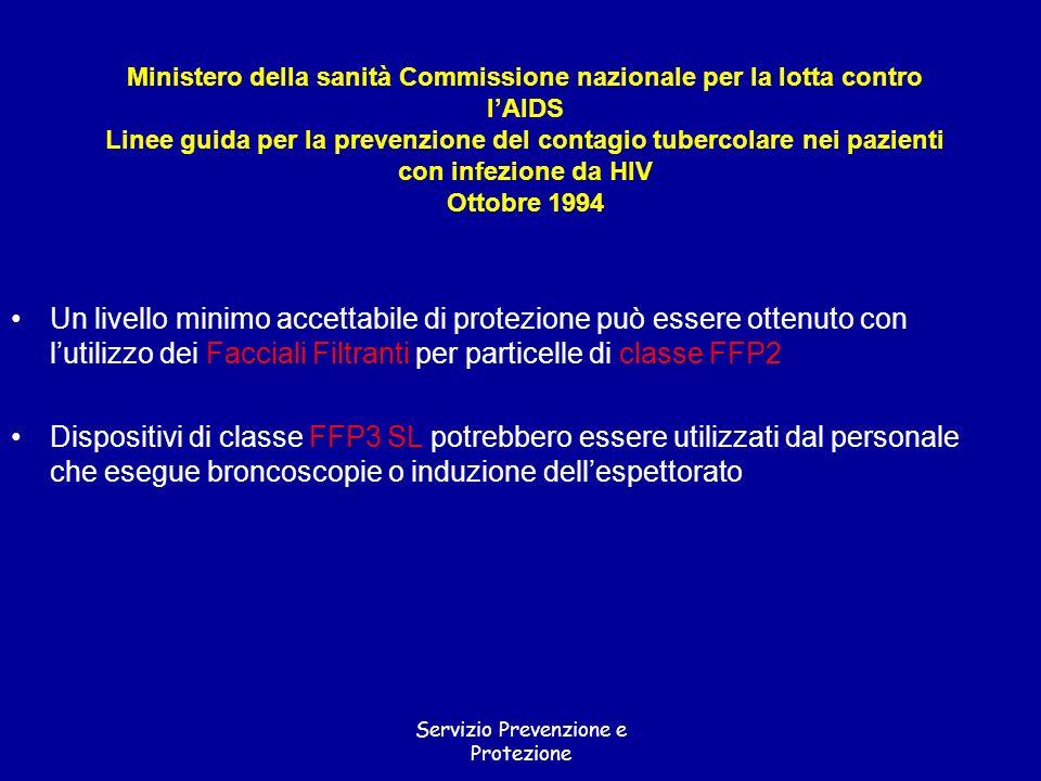 Servizio Prevenzione e Protezione Ministero della sanità Commissione nazionale per la lotta contro lAIDS Linee guida per la prevenzione del contagio t