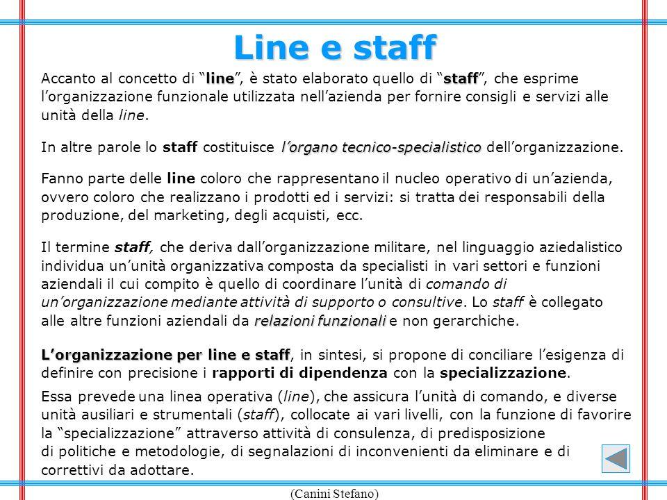 (Canini Stefano) Line e staff linestaff Accanto al concetto di line, è stato elaborato quello di staff, che esprime lorganizzazione funzionale utilizz