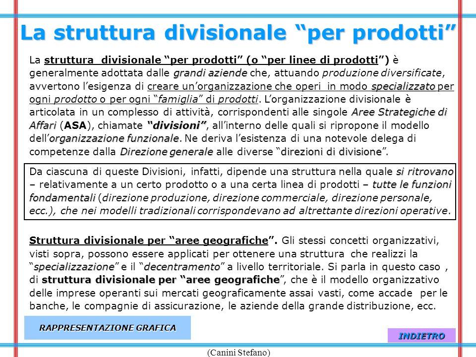(Canini Stefano) La struttura divisionale per prodotti grandi aziende specializzato Aree Strategiche di Affaridivisioni organizzazione funzionale Dire