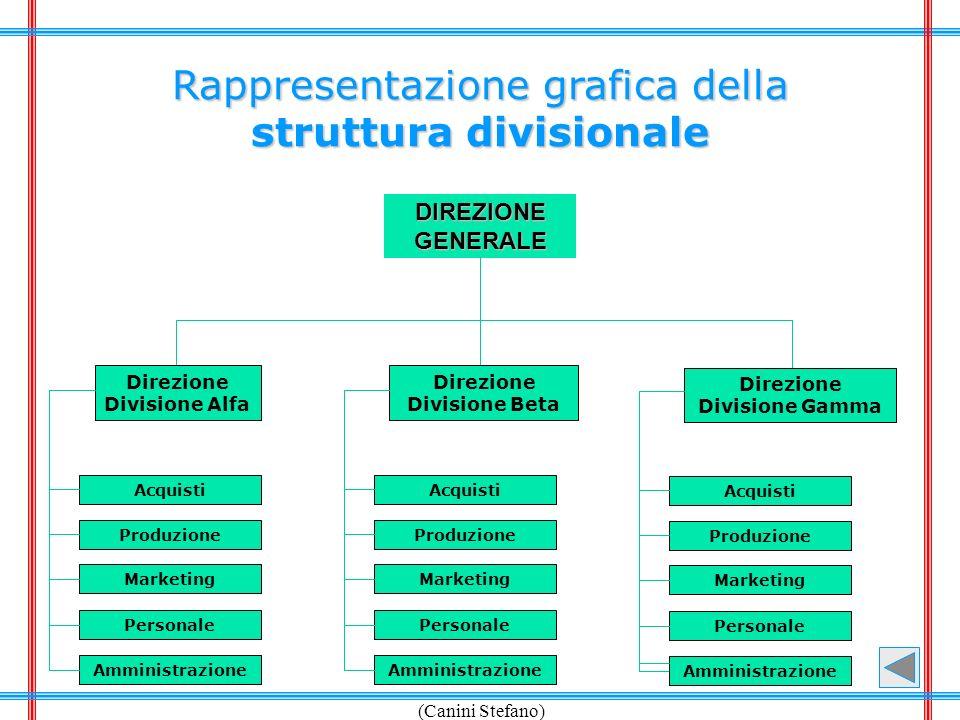 (Canini Stefano) Rappresentazione grafica della struttura divisionale DIREZIONEGENERALE Direzione Divisione Alfa Direzione Divisione Beta Direzione Di