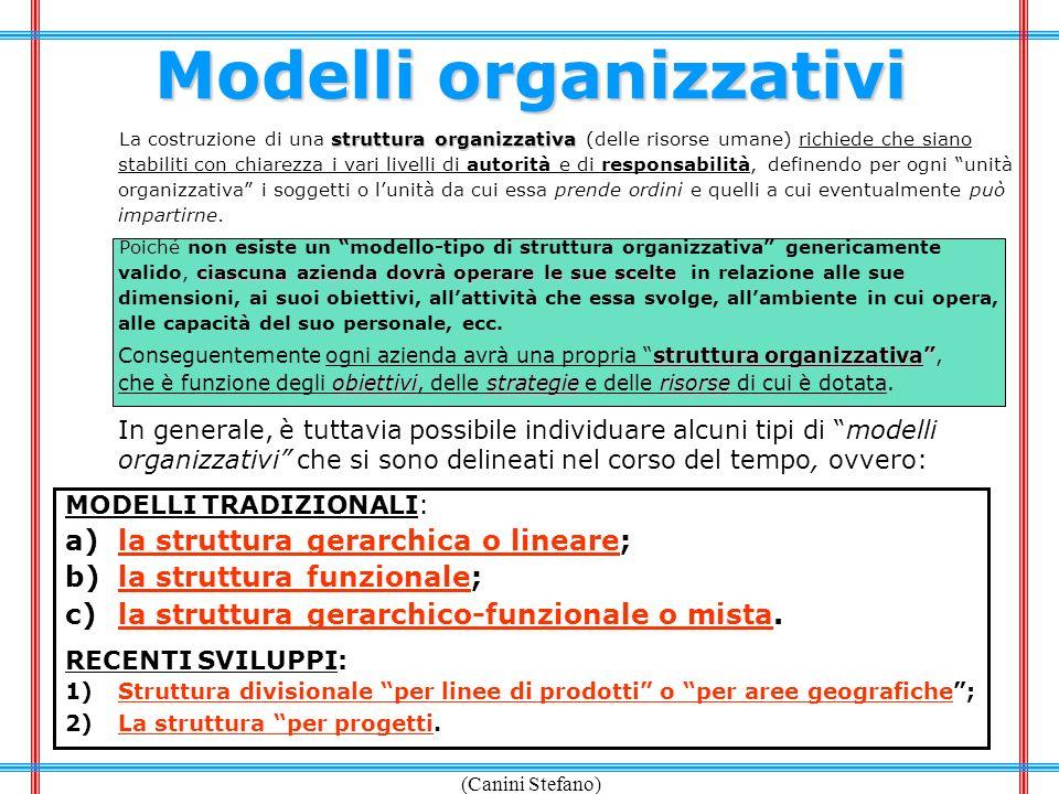 (Canini Stefano) Modelli organizzativi struttura organizzativa La costruzione di una struttura organizzativa (delle risorse umane) richiede che siano