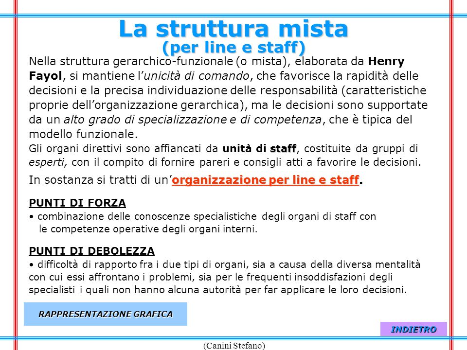(Canini Stefano) Line e staff linestaff Accanto al concetto di line, è stato elaborato quello di staff, che esprime lorganizzazione funzionale utilizzata nellazienda per fornire consigli e servizi alle unità della line.