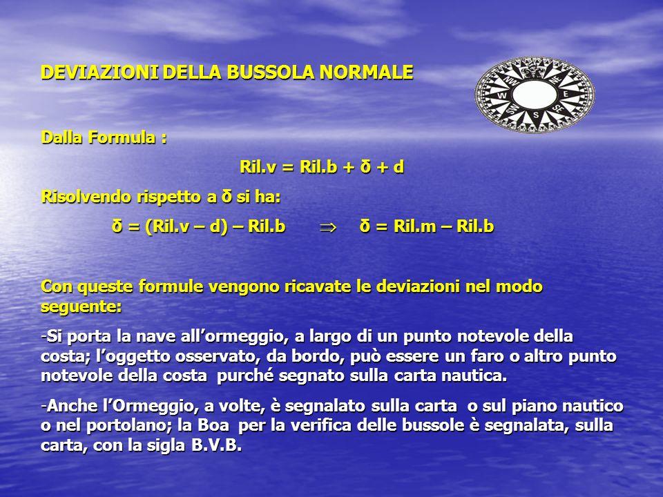 DEVIAZIONI DELLA BUSSOLA NORMALE Dalla Formula : Ril.v = Ril.b + δ + d Risolvendo rispetto a δ si ha: δ = (Ril.v – d) – Ril.b δ = Ril.m – Ril.b δ = (Ril.v – d) – Ril.b δ = Ril.m – Ril.b Con queste formule vengono ricavate le deviazioni nel modo seguente: -Si porta la nave allormeggio, a largo di un punto notevole della costa; loggetto osservato, da bordo, può essere un faro o altro punto notevole della costa purché segnato sulla carta nautica.