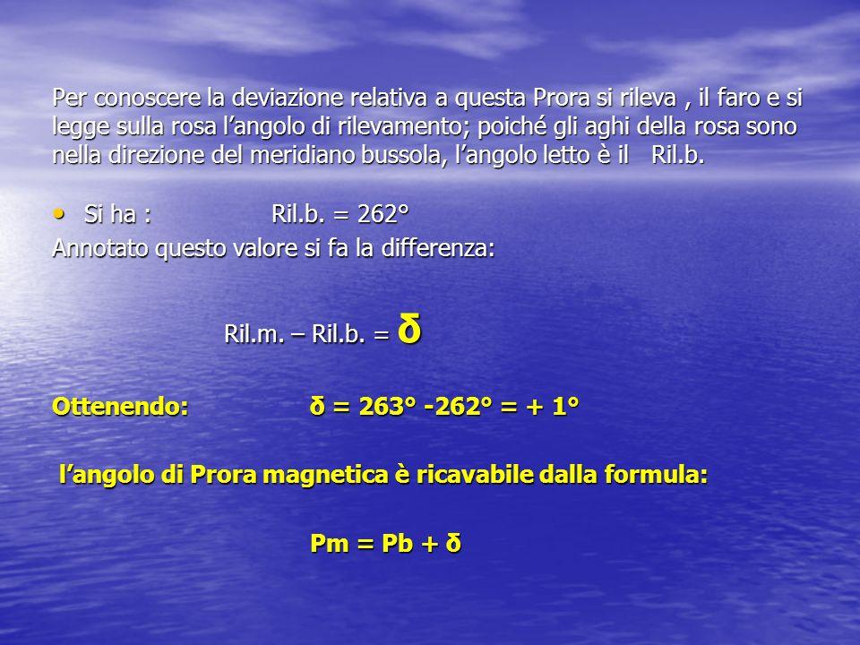 Con i valori dellesempio ove Pb = 0° e δ =+1° risulta Pm =1° Dopo questa prima determinazione ne seguono altre, di norma non inferiori a 24, corrispondenti a 24 prore bussole e ad altrettante prore magnetiche.