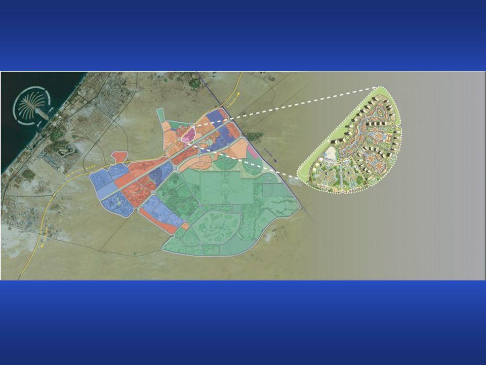 Dubailand costa 20 Miliardi di US-Dollari. Sono previste 45 grandi rotaie e 200 più piccole.
