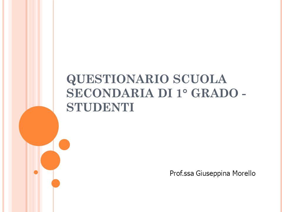 QUESTIONARIO SCUOLA SECONDARIA DI 1° GRADO - STUDENTI Prof.ssa Giuseppina Morello