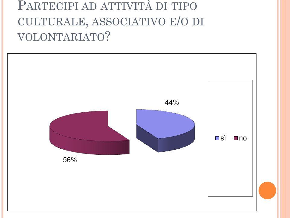 P ARTECIPI AD ATTIVITÀ DI TIPO CULTURALE, ASSOCIATIVO E / O DI VOLONTARIATO