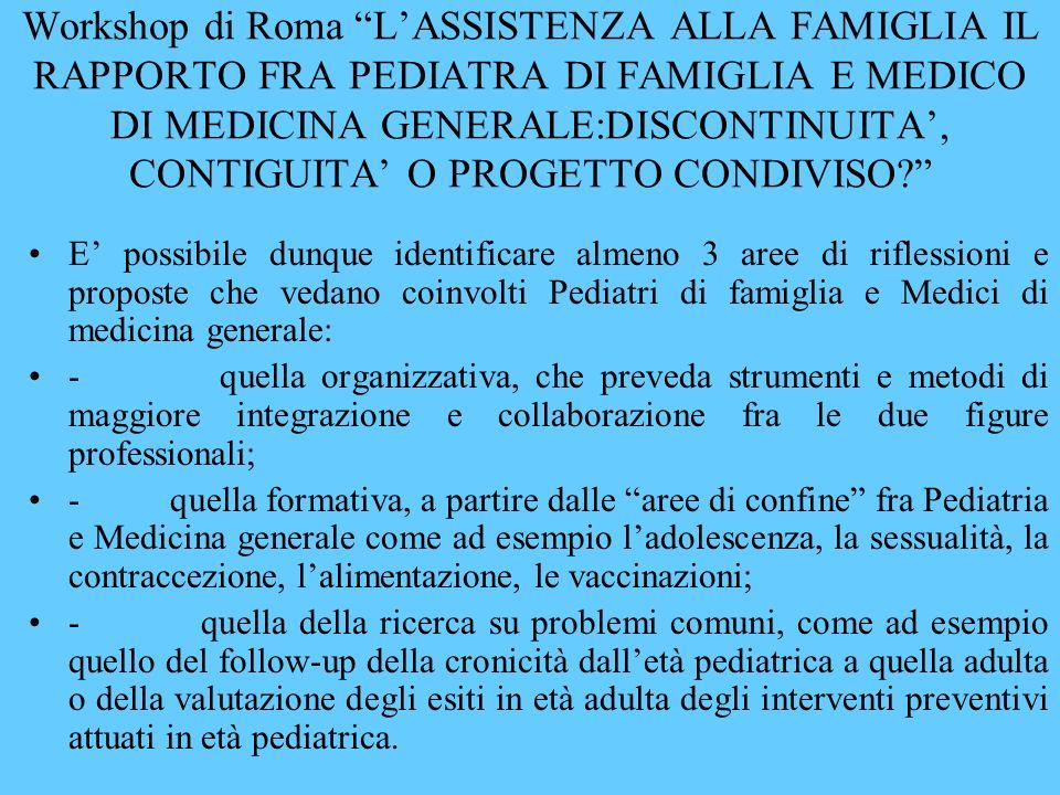 Workshop di Roma LASSISTENZA ALLA FAMIGLIA IL RAPPORTO FRA PEDIATRA DI FAMIGLIA E MEDICO DI MEDICINA GENERALE:DISCONTINUITA, CONTIGUITA O PROGETTO CONDIVISO.