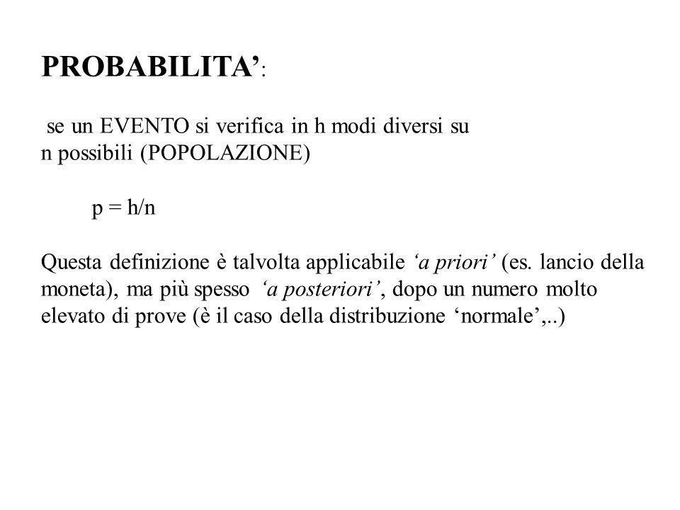 PROBABILITA : se un EVENTO si verifica in h modi diversi su n possibili (POPOLAZIONE) p = h/n Questa definizione è talvolta applicabile a priori (es.