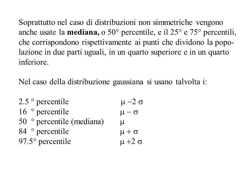 Soprattutto nel caso di distribuzioni non simmetriche vengono anche usate la mediana, o 50° percentile, e il 25° e 75° percentili, che corrispondono r