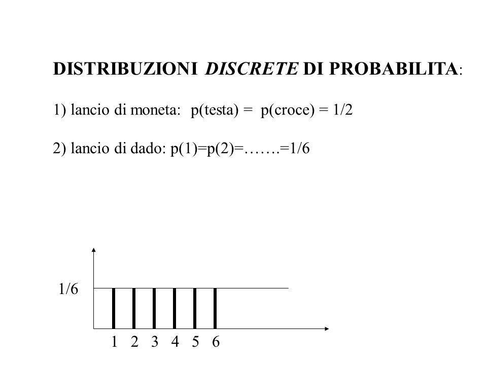 DISTRIBUZIONI DISCRETE DI PROBABILITA : 1) lancio di moneta: p(testa) = p(croce) = 1/2 2) lancio di dado: p(1)=p(2)=…….=1/6 1 2 3 4 5 6 1/6