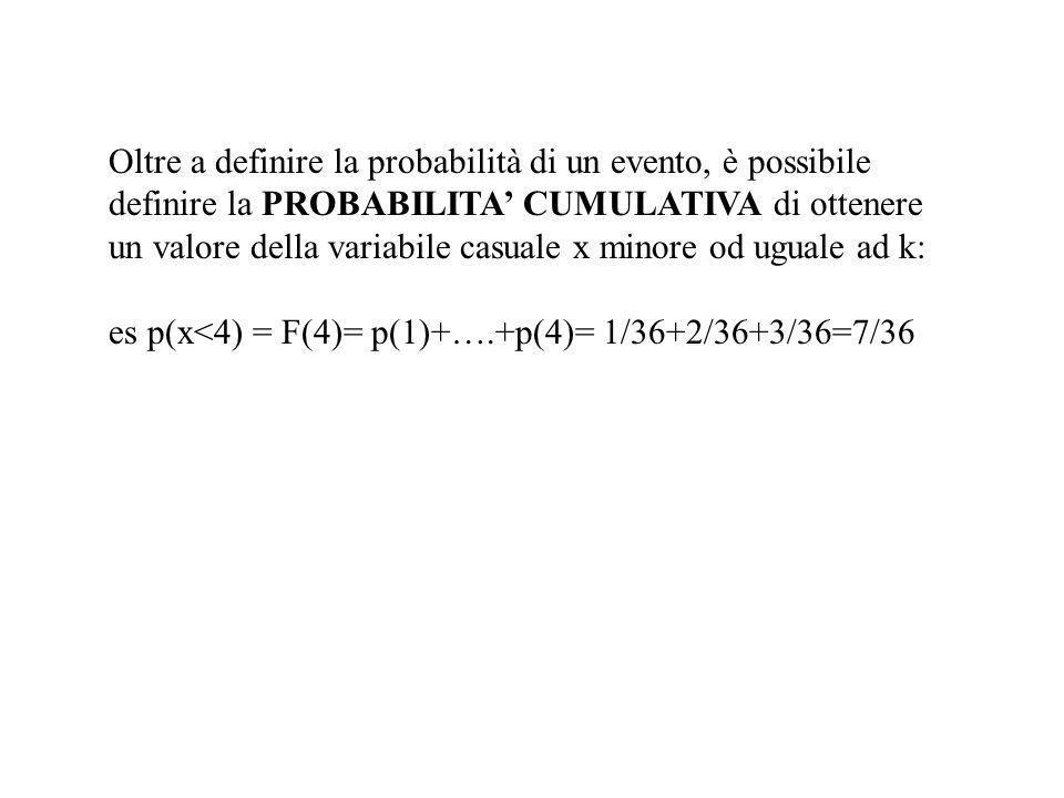 Oltre a definire la probabilità di un evento, è possibile definire la PROBABILITA CUMULATIVA di ottenere un valore della variabile casuale x minore od