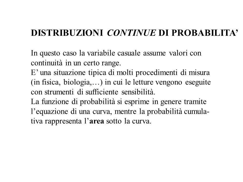 DISTRIBUZIONI CONTINUE DI PROBABILITA In questo caso la variabile casuale assume valori con continuità in un certo range. E una situazione tipica di m