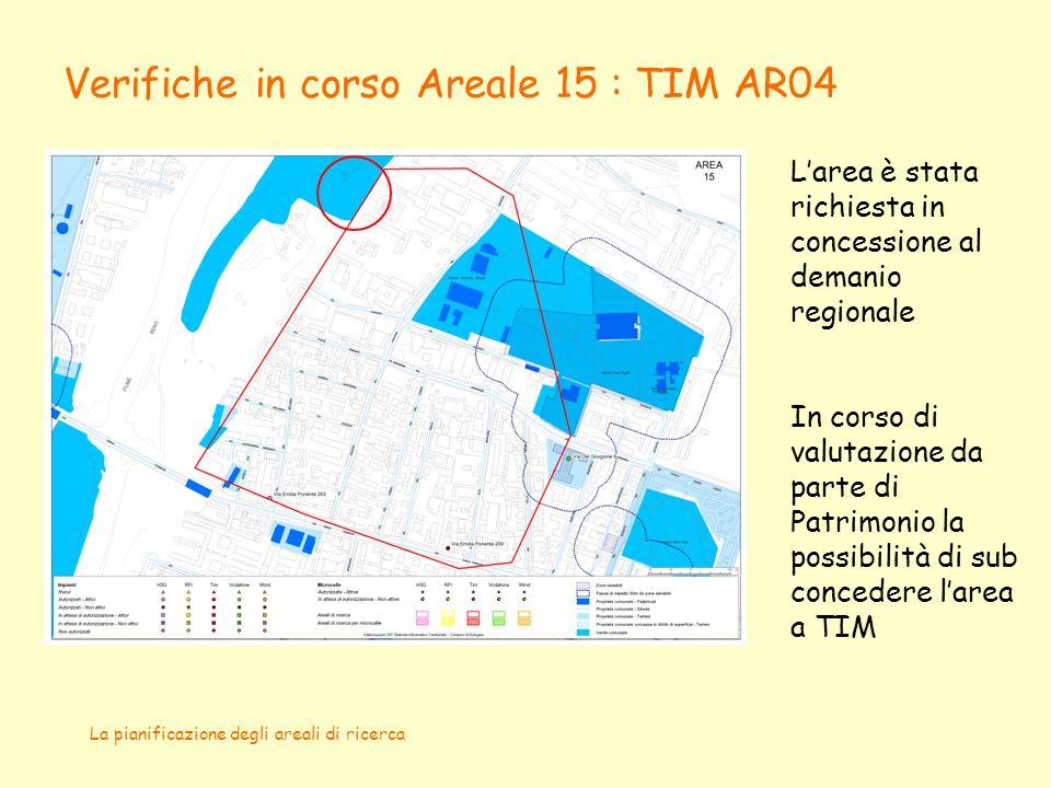La pianificazione degli areali di ricerca Verifiche in corso Areale 15 : TIM AR04 Larea è stata richiesta in concessione al demanio regionale In corso di valutazione da parte di Patrimonio la possibilità di sub concedere larea a TIM