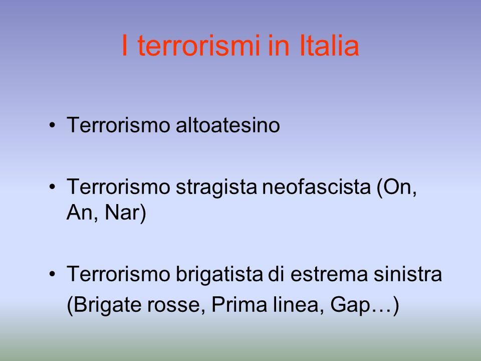 I terrorismi in Italia Terrorismo altoatesino Terrorismo stragista neofascista (On, An, Nar) Terrorismo brigatista di estrema sinistra (Brigate rosse,