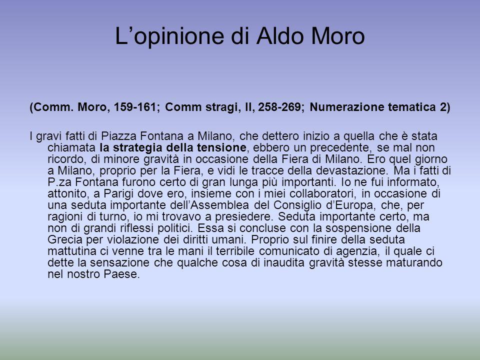 Lopinione di Aldo Moro (Comm. Moro, 159-161; Comm stragi, II, 258-269; Numerazione tematica 2) I gravi fatti di Piazza Fontana a Milano, che dettero i
